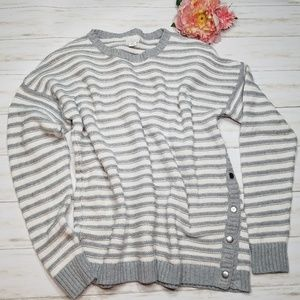 Caslon Sweater crewneck striped snap knit sz XL